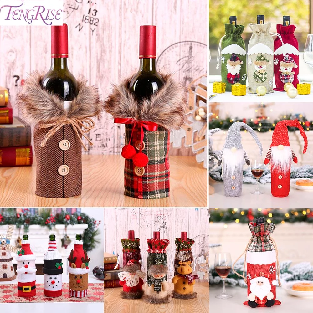 FENGRISE Santa Claus Wine Bottle Cover Christmas Decorations For Home 2019 Chris