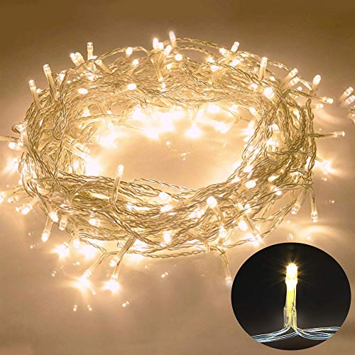 Galaxer Luces de Hadas 80 Pcs LED Night Christmas String Light 33Ft / 10M dos Modos Luz Constante/Parpadeo Luz Blanca Cálida Decoración para Cumpleaños de Navidad Fiesta (Blanco cálido)