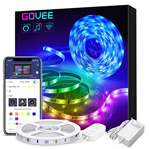 Govee WiFi Tiras LED 5M Alexa, Luz de Tira LED Smart 5050 Control APP, Sync con Música Multicolor, Kit de Luces LED Funciona con Alexa, Google Home,Luces Decorativas para Navidad y Fiestas,12V 1.5A