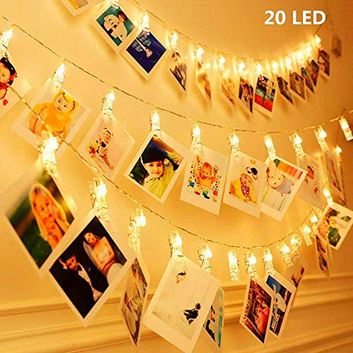 KNONEW 20 LED Photo Clip cuerda luces- 2,4 Metros LED luces para decoración Foto colgante, notas, obras de arte (blanco cálido)