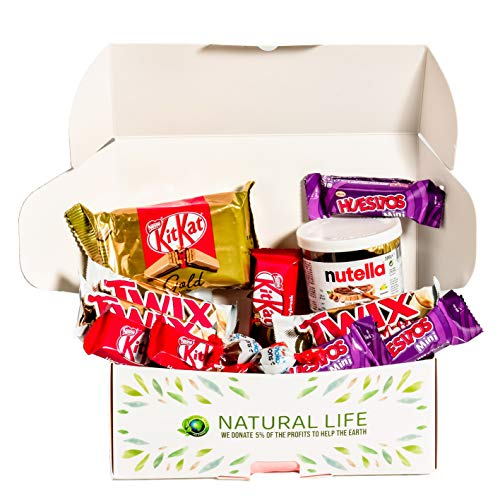 Caja regalo de chocolates I Pack de chocolates para regalar: Kinder Bonds, Nutella 200gr, Mini Kit Kat, Twix Blanco, Mini Huesitos, Kit Kat Gold I Cesta ideal para regalar o disfrutar