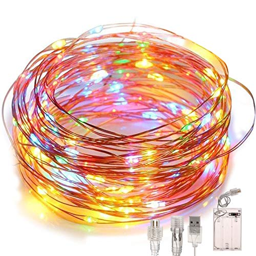 Led Fairy String Lights, Battery Powered/USB Plug in, 2 Modes, 100 LEDs 10M/32Ft Decorative Copper Wire Light, IP65 Waterproof for Indoor Outdoor Decor Patio Garden Wedding Christmas (Multicolor)